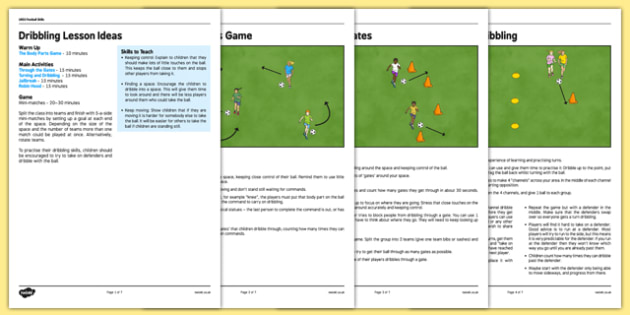 UKS2 Football Skills 1 Dribbling Lesson Pack - football, PE, sport, exercise, KS2, UKS2, Key Stage 2, year 5, year 6, skills, physical education, ball skills, team sports