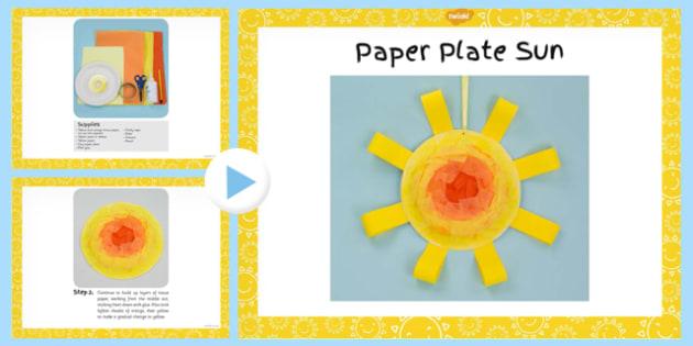 Paper Plate Sun Craft Instructions PowerPoint - craft, sun, paper