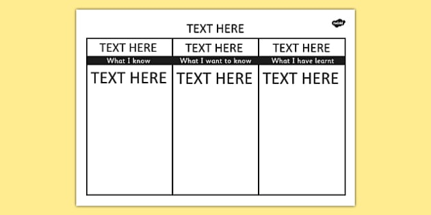 Editable KWL Grid - editable, kwl grid, word, know, learn, grid