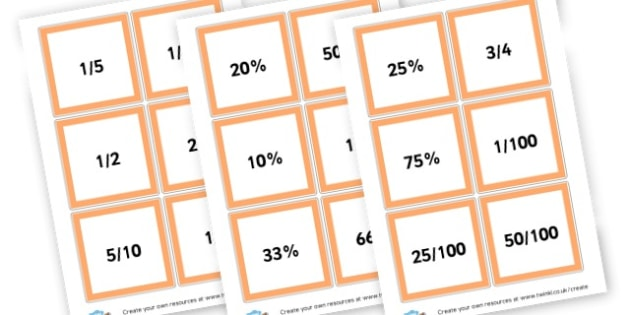 fraction and percentage cards - Fractions Primary Resources, numeracy, fraction, half, quarter