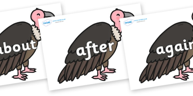KS1 Keywords on Vultures - KS1, CLL, Communication language and literacy, Display, Key words, high frequency words, foundation stage literacy, DfES Letters and Sounds, Letters and Sounds, spelling