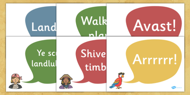 Pirates Display Quote Cut-Out Speech Bubbles - Pirate, Pirates, Topic, Display, Posters, Freize, Fantasy topic, treasure, landlubber, shiver me timbers