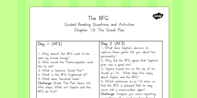 Guided Reading Questions Chapter 15 to Support Teaching on The BFG - australia, bfg, guided reading