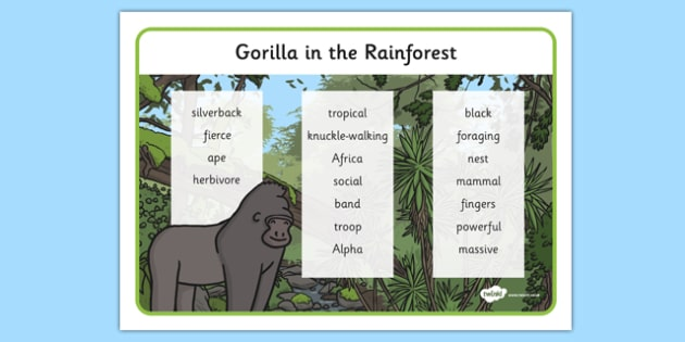 Gorilla Rainforest Word Mat - rainforest, word mat, word, mat, gorilla, animal