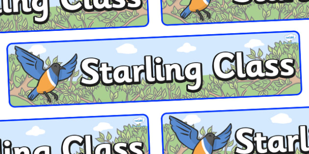Starling Themed Classroom Display Banner - Themed banner, banner, display banner, Classroom labels, Area labels, Poster, Display, Areas