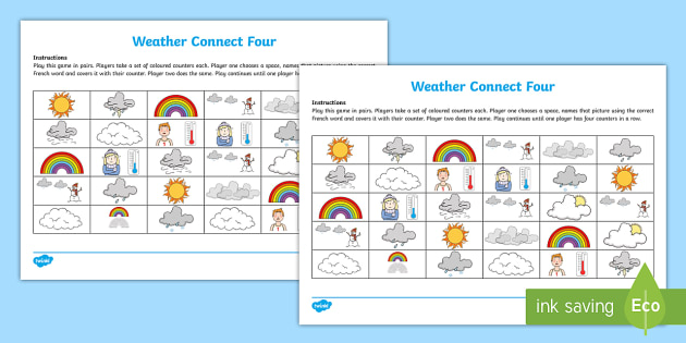 Connect Four Weather Game French - French Games, french weather, french pair games, weather,Scottish-translation
