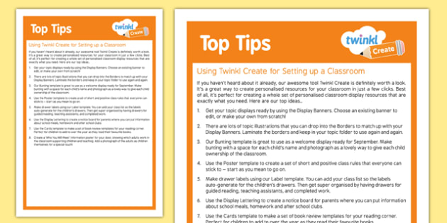 Using Twinkl Create for Setting Up A Classroom Top Tips