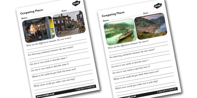 Comparing Places Worksheets - comparing places, places worksheets, different places worksheets, similarities and differences, ks2 geography, places, ks2