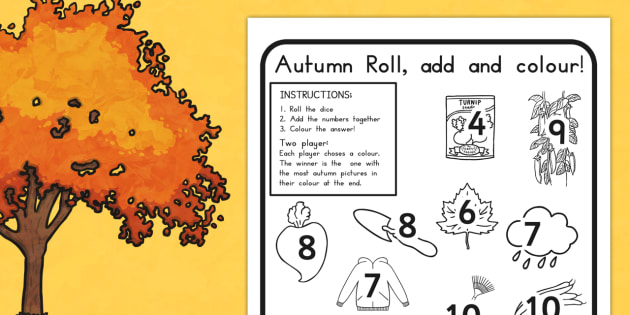 Autumn Colour and Roll Worksheet - dice games, games, activity