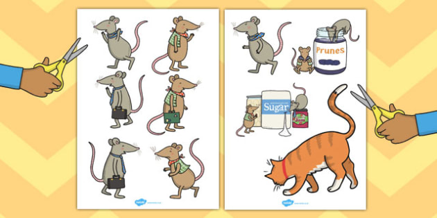 The Town Mouse and the Country Mouse Story Cut Outs - cut out