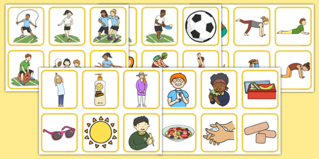 Healthy Body Picture Cards - healthy body, healthy, body, health, picture cards, picture, cards