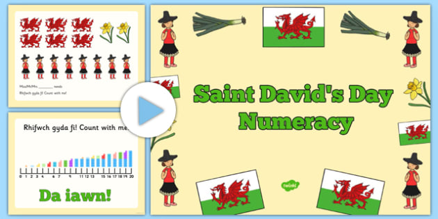 Nursery Reception Saint David's Day Numeracy PowerPoint - maths, counting, numbers, ks1, foundation, welsh, celebration