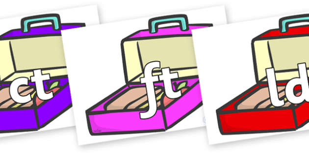 Final Letter Blends on Lunch Boxes - Final Letters, final letter, letter blend, letter blends, consonant, consonants, digraph, trigraph, literacy, alphabet, letters, foundation stage literacy