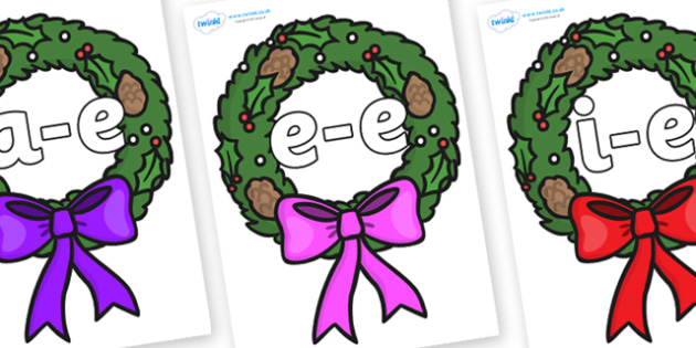 Modifying E Letters on Christmas Wreaths - Modifying E, letters, modify, Phase 5, Phase five, alternative spellings for phonemes, DfES letters and Sounds