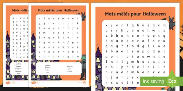 d'Halloween Mots mêlés différenciés