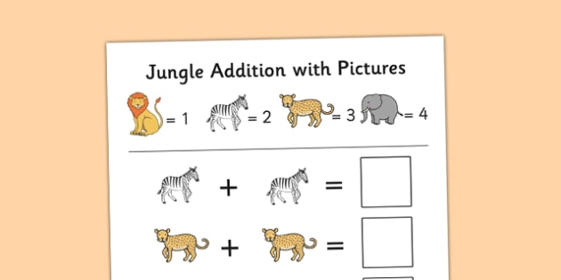 Jungle Themed Addition with Pictures Activity Sheet Pack - jungle, themed, addition, pictures, activity, sheets, worksheet