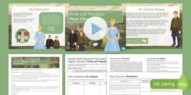 Pride and Prejudice Main Characters Lesson Pack
