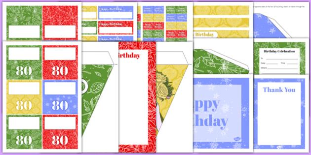 80th Birthday Party Pack - 80th birthday party, 80th birthday, birthday party, party pack