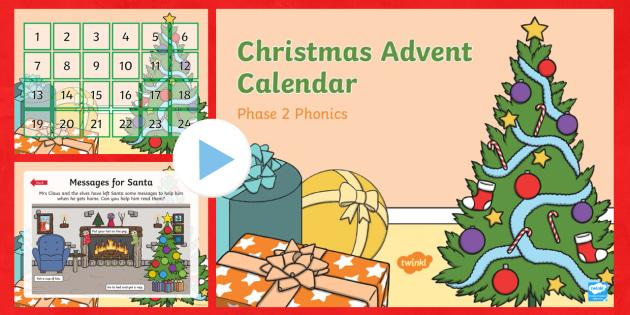 Phase 2 Christmas Phonics Advent Calendar PowerPoint