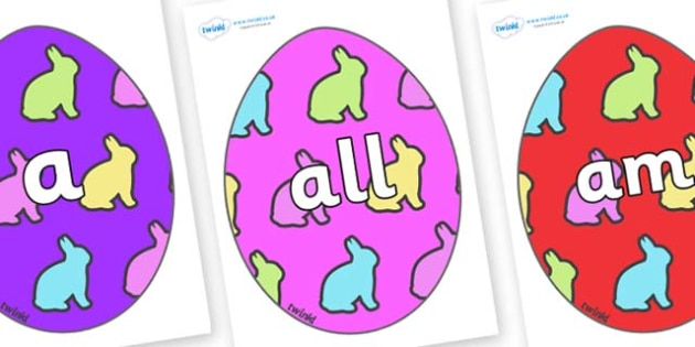 Foundation Stage 2 Keywords on Easter Eggs (Rabbits) - FS2, CLL, keywords, Communication language and literacy,  Display, Key words, high frequency words, foundation stage literacy, DfES Letters and Sounds, Letters and Sounds, spelling