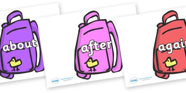 KS1 Keywords on Backpacks - KS1, CLL, Communication language and literacy, Display, Key words, high frequency words, foundation stage literacy, DfES Letters and Sounds, Letters and Sounds, spelling