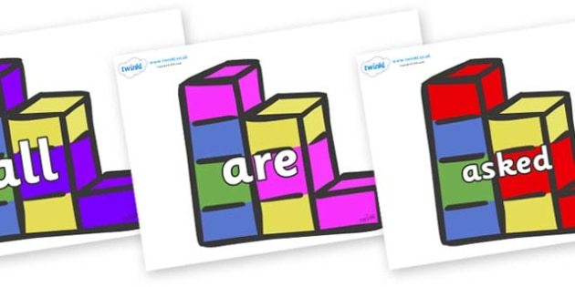 Tricky Words on Building Blocks - Tricky words, DfES Letters and Sounds, Letters and sounds, display, words
