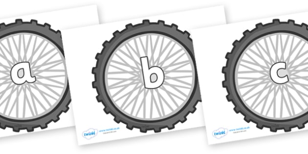 Phase 2 Phonemes on Bike Wheels - Phonemes, phoneme, Phase 2, Phase two, Foundation, Literacy, Letters and Sounds, DfES, display