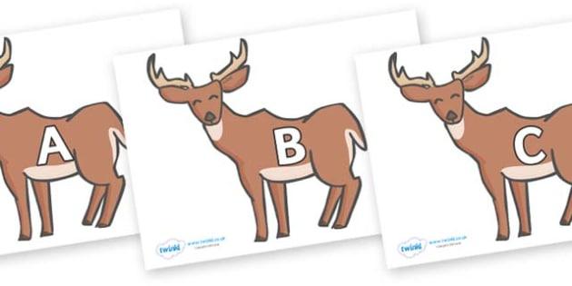A-Z Alphabet on Deer - A-Z, A4, display, Alphabet frieze, Display letters, Letter posters, A-Z letters, Alphabet flashcards