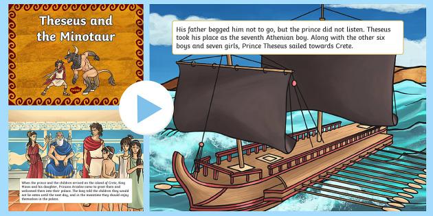 Theseus and the Minotaur Story PowerPoint - theseus, minotaur