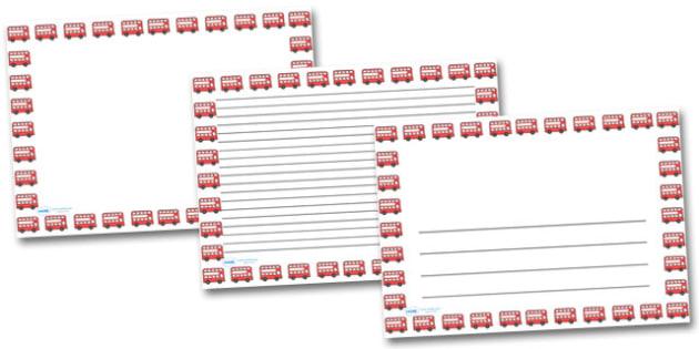 Red Bus Landscape Page Borders- Landscape Page Borders - Page border, border, writing template, writing aid, writing frame, a4 border, template, templates, landscape