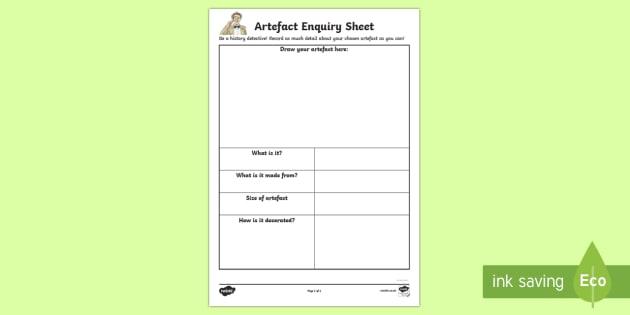 History Detective Artefact Enquiry Activity Sheet