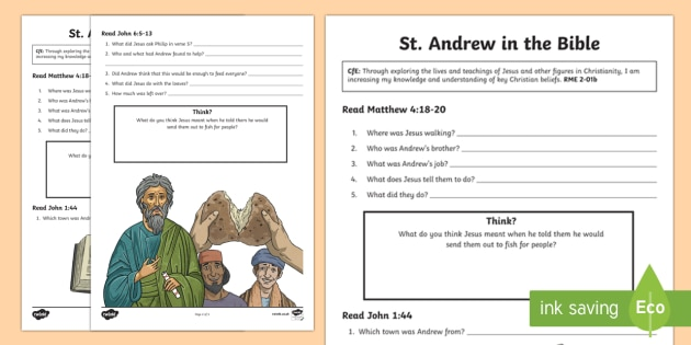 St. Andrew in the Bible Activity Sheet