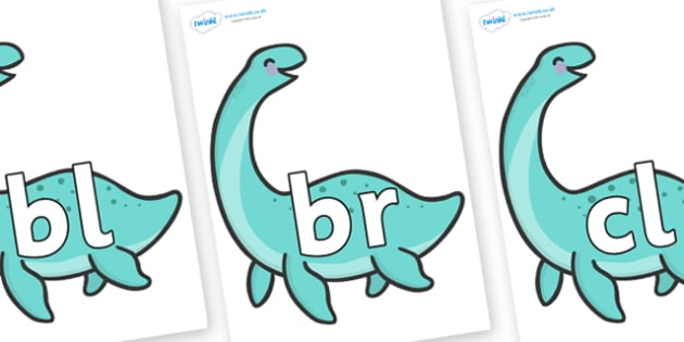 Initial Letter Blends on Pleseosaur Dinosaurs - Initial Letters, initial letter, letter blend, letter blends, consonant, consonants, digraph, trigraph, literacy, alphabet, letters, foundation stage literacy