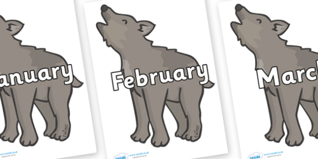 Months of the Year on Wolf Cubs - Months of the Year, Months poster, Months display, display, poster, frieze, Months, month, January, February, March, April, May, June, July, August, September