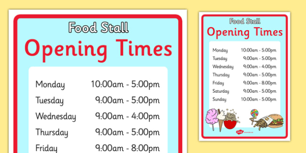 The Fairground Role Play Opening Times - fairground, fair ground opening, fairground opening times poster, fairground display poster, fairground role play