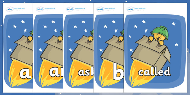 Tricky Words on Rockets (Whatever Next) to Support Teaching on Whatever Next! - Tricky words, DfES Letters and Sounds, Letters and sounds, display, words
