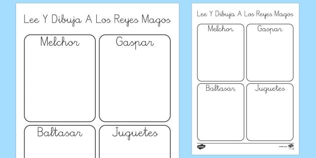 Dibuja a los Reyes Magos Ficha de leer y dibujar-Spanish