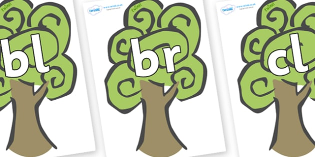 Initial Letter Blends on Trees - Initial Letters, initial letter, letter blend, letter blends, consonant, consonants, digraph, trigraph, literacy, alphabet, letters, foundation stage literacy