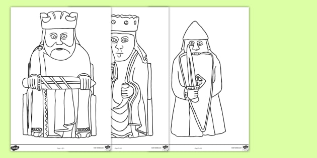 The Lewis Chessmen Outline Template - CfE, Vikings, models, gaming pieces, carvings, sculpture,Scottish