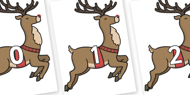 Numbers 0-50 on Rudolph - 0-50, foundation stage numeracy, Number recognition, Number flashcards, counting, number frieze, Display numbers, number posters