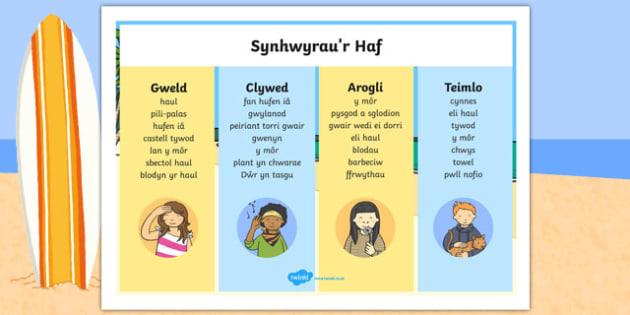 Mat Geiriau Synhwyrau'r Haf Word Mat-Welsh