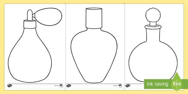 Doodle Draft Perfume Bottles Activity Sheet-Irish - ROI, Ireland, doodle, draft, sketch, starter, creative, drawing, art, activity sheet,Irish