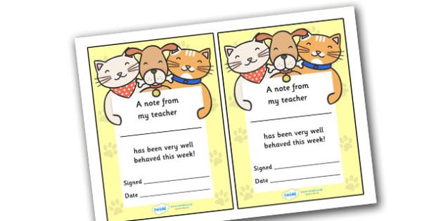 Note From My Teacher Well Behaved This Week (Cat Dog Themed) - note from teacher well behaved this week, well behaved this week, note from teacher, notes, praise, comment, note, teacher, teacher's, parents, well behaved, this week, cat dog themed, ca