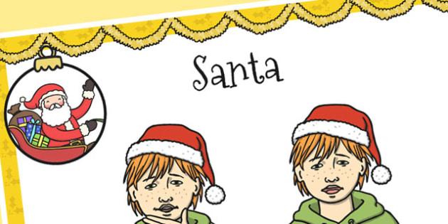 A4 British Sign Language Sign for Santa Left Handed - santa, left