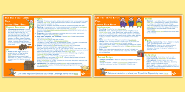 The Three Little Pigs KS1 Lesson Plan Ideas - lesson plan, ks1
