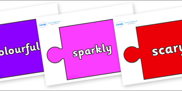 Wow Words on Jigsaw Pieces - Wow words, adjectives, VCOP, describing, Wow, display, poster, wow display, tasty, scary, ugly, beautiful, colourful sharp, bouncy