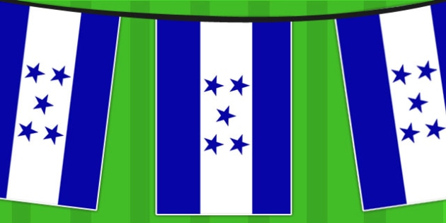 Honduras A4 Flag Bunting - countries, geography, flags, country