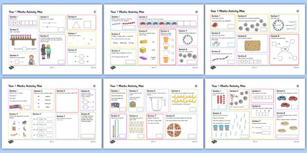 Year 1 Summer 1 Maths Activity Mats - australia, ks1, year 1, y1, infants, challenge, daily, starter, progress, assessment, addition, subtraction, numbers, fractions, calculation, word problem
