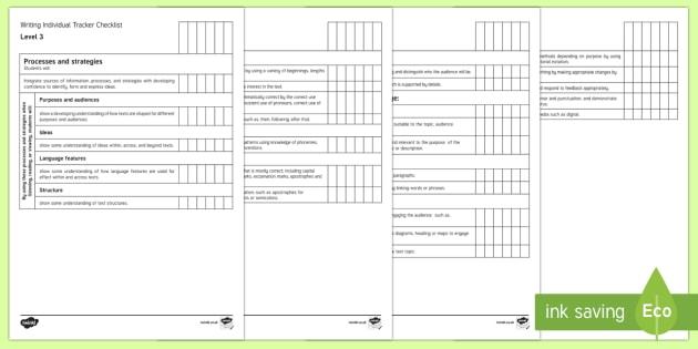 New Zealand Level 3 Writing Individual Tracker Checklist - Writing, Level 3, Assessment, Individual, Literacy