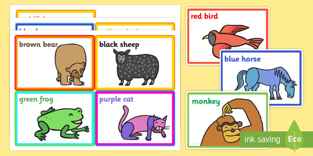 Colour Prompt Cards to Support Teaching on Brown Bear Brown Bear - brown bear, prompt